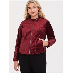 Torrid burgundy Lattice Velvet Moto Jacket Size 1X